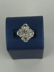 STS Sterling Silver 925 Morganite and Aquamarine Ring- SZ 7