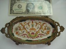 Antique Authentic 1920s Chinese Exported Porcelain Bronze Ice Crack Dish~Free SH