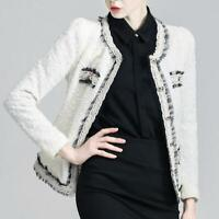 Trendy Women Slim Office Tweed Jacket Outwear Cocktail Temperament Lacework Coat