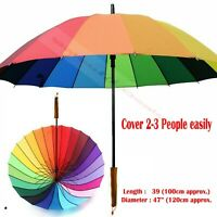 EXTRA LARGE COLOURFUL RAINBOW GOLF UMBRELLA BRIDAL PARTY RAIN WOODEN HANDLE  NEW