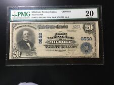 National Bank Note Mildred Pennsylvania Pmg Vf 20 Large Only 8 Other Large Notes