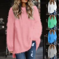 Women Long Sleeve Fleece Loose Winter Warm Soft Sweater Jumper Knit Pullover Top
