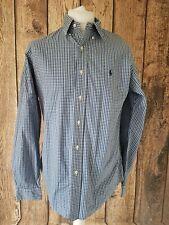 Polo Ralph Lauren Shirt Blue Chrck Gingham Custom Large 46 Chest