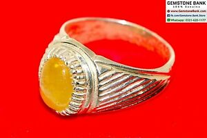 Yellow SAPPHIRE Mens Ring Size 9.5 -CERTIFIED Stone Sterling Silver Ring