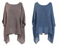 New Plus Size Italian 2 POCKET Poncho LAGENLOOK Oversized LINEN Layering Top 80""