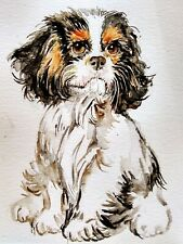 Dog art,Cavalier King Charles spaniel puppy, original painting,home office decor