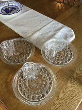 Antique Tea And Toast Sets. Lot Of 3 Sets. Clear Cut Glass.