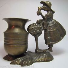 Old Bronze Girl Smelling Flower Figural Brass Match Toothpick Holder Bud Vase