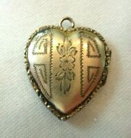 Vintage Gold Filled Heart Locket With Etched Flower