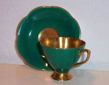 Vtg Taylor&Kent Bone China Footed Gold Lined Tea Cup/Saucer Glossy Green