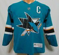 Joe Thornton #19 San Jose Sharks NHL Jersey Vtg Youth S/M Reebok Teal Captain