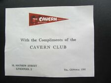 THE BEATLES ORIG   CAVERN  CLUB  COMPLIMENT SLIP  EX