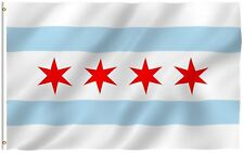 4x6 City of Chicago Flag 4'x6' ft banner grommets 100d polyester