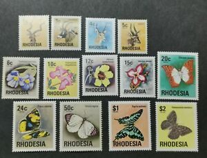 RHODESIA 1974 THEMATIC STAMPS, WILDLIFES, BUTTERFLIES & WILD FLOWERS MNH/UM.