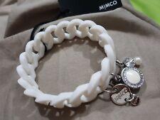 Mimco Sporto Silicon Stretch Bracelet White Silver With Crystals