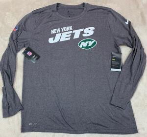 NWT'S The Nike Tee Dri-Fit On Field New York Jets NFL LS Shirt SZ XL Player Gray