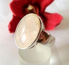 Moderner Rosenquarz Ring 925 Silber Fingerring / bj 720