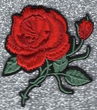 Lot of 2 Red Rose embroidery patches