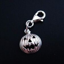 Sterling Silver Bracelet Charms-Silver Pumpkin Charm - Add on Charm - 1piece