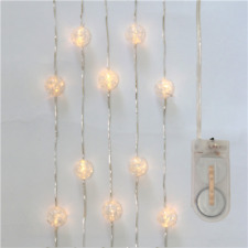 Acrylic Cracked Ball LED Fairy Lights On Wire 2 Metre Warm White Battery Powered