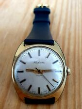 RAKETA MENS RUSSIAN MECHANICAL VINTAGE WATCH GOLD PLATED 2609.HA LEATHER STRAP