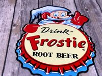 "VINTAGE ""DRINK FROSTIE ROOT BEER W/ ELF"" 12"" METAL SODA POP GASOLINE & OIL SIGN!"