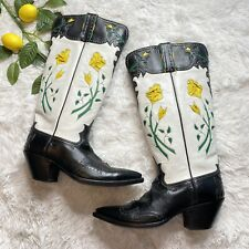 Caboots Custom Cowboy Boots Stacy Page Floral Inlaid Leather Women's Size 7.5