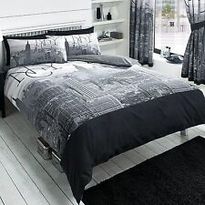 NEW YORK CITY BLACK DUVET COVER SET NEW BEDDING