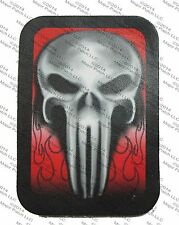 LEATHER PATCH BAD ASS SKULL FLAMES BIKER MOTORCYCLE VEST JACKET USA