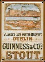 Guinness Dublin Brewery miniature metal sign / postcard (hi)