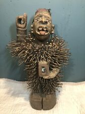 Rare Authentic Antique African Art Wooden Nail Power Fetish Hand-Carved Statue