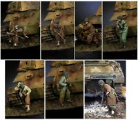 1/35 7pcs Resin Figure Model Kit US Soldiers Sherman Tank Crew WWII Unpainted