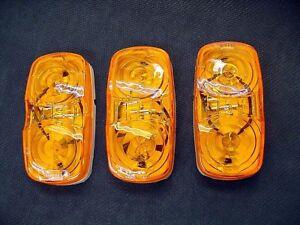 3 Amber Car Hauler Trailer Side Marker Clearance Lights Semi Transport Truck