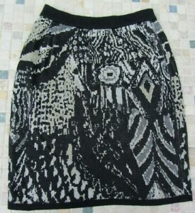 Jinabe-Paris-Ladies Black & Gold/Grey Coloured Knitted Skirt Size 38