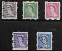 Canada Scott #325-29, Singles 1953 Complete Set FVF Used/MH