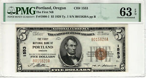1929 $5 FIRST NATIONAL BANKNOTE CURRENCY PORTLAND OREGON PMG CHOICE UNC 63 EPQ