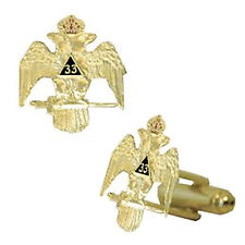 Scottish Rite 33rd Degree Wings Down Masonic Cufflinks. Gold tone and Color