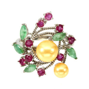 Unheated Marquise Green Emerald 5x2.5mm Pearl Ruby 925 Sterling Silver Ring 8