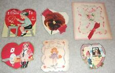 Vintage Valentine 40s 50s Heart Valentine'S Day Lot 6 Asst Child Amelia Earhart+