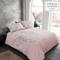 Catherine Lansfield Oriental Blossom Easy Care Floral Duvet/Bed Set Blush