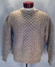 E6 CARRAIG DONN Men's Size L 100%  WOOL CABLE KNIT Ivory Fisherman Sweater