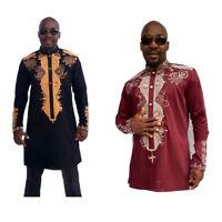 Tribal African Dashiki Shirt Succinct Top Clothing Print  Blouse Men Hippie