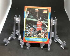 """3 Clear Plastic Stands Sports Card Display 3"""" Tall Free Jordan Card Included!"""