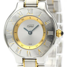 Polished CARTIER Must 21 Gold Plated Steel Quartz Ladies Watch W10073R6 BF509194