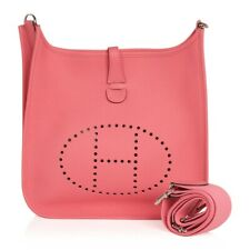 Hermes Evelyne PM Bag Rose Azalee Clemence Palladium New