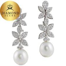 Classic Diamond Pearl White Gold Drop Earrings