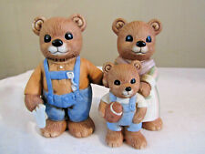 Homco Bear Figurines Mom Dad & Boy Holding Football #1450