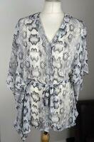 H&M Snakeskin Print Kimono Style Top Tie Belt Wide Batwing Sleeve Grey Mix UK 8