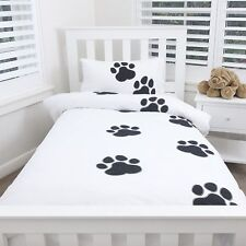 DOUBLE BED PAW PRINT DOONA COVER w PILLOWCASES QUILT SET DOG ANIMAL LINEN SHEET