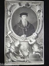 Original Jacobus Houbraken 1739 John Russel, Earl of Bedford Portrait Engraving